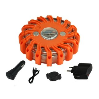 Powerflash LED Warnleuchte Akku Orange