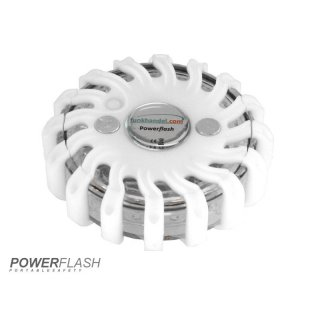 Powerflash LED Warnleuchte Batterie Wei�
