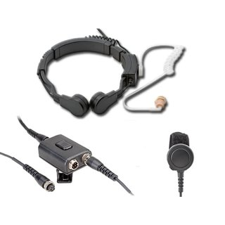 Profi Kehlkopf Security Headset mit Dual-PTT KEP23-PD7